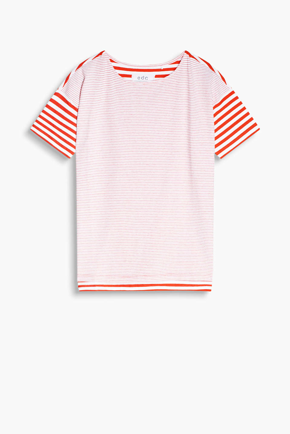 Boxy T-shirt made of stretch cotton with a varied stripe pattern