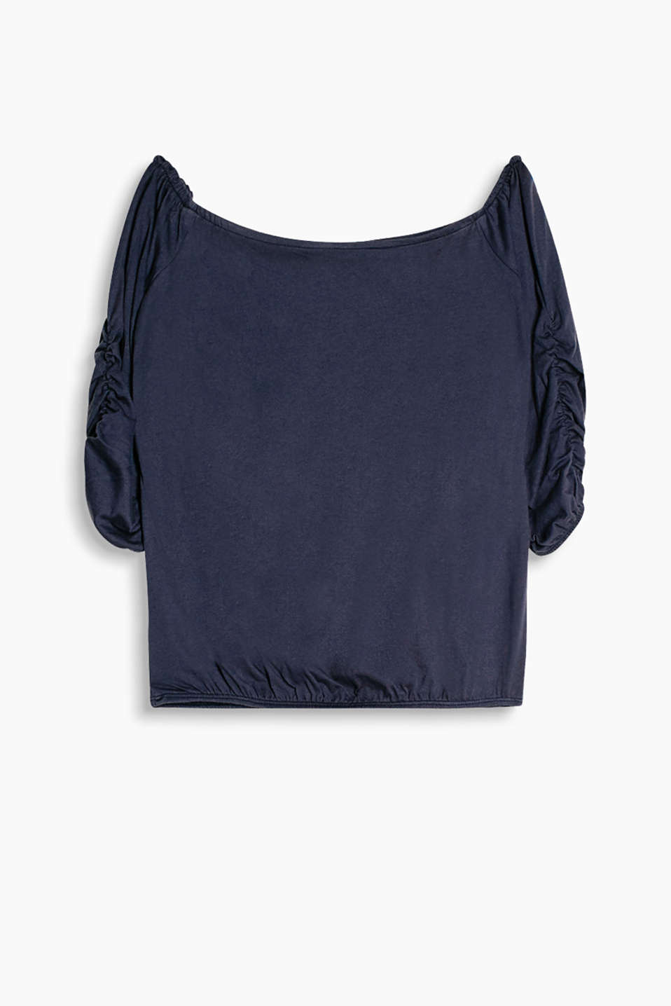 T-shirt with gathered sleeves and an elasticated waistband, made of soft jersey