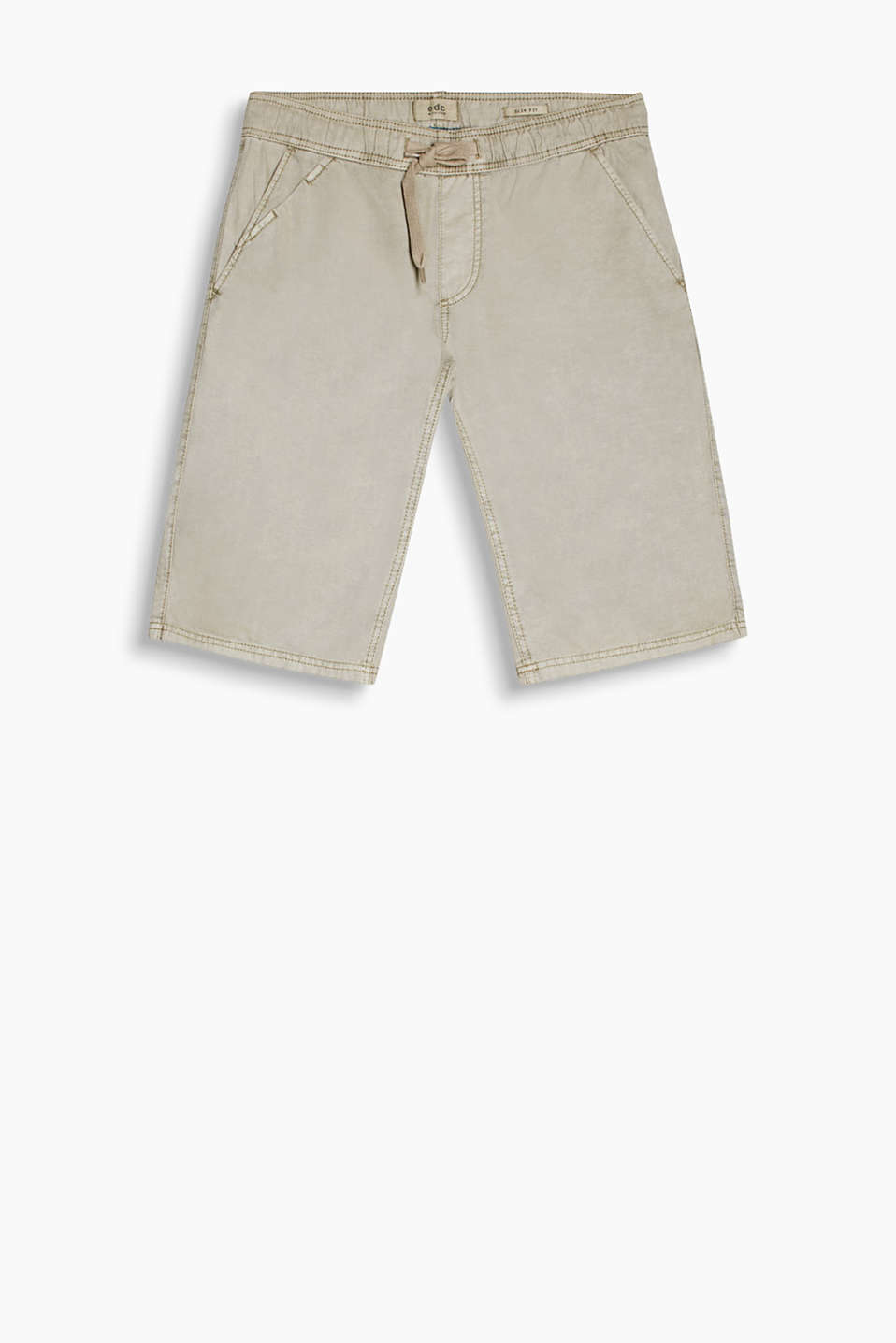 Bermuda shorts in a grained cotton-linen blend with drawstring ties