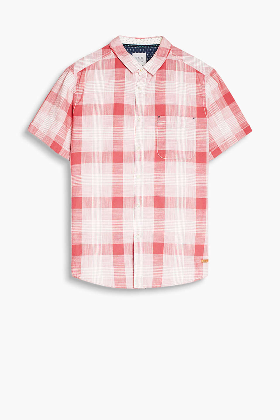 Pure cotton shirt with a rustic glencheck pattern and a patch breast pocket