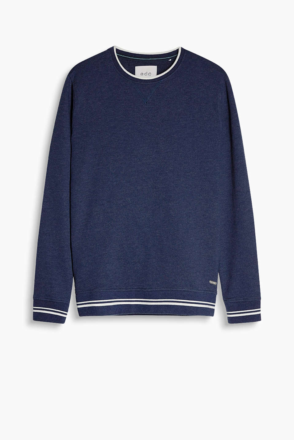 With nautically striped ribbed waistband and cuffs: sweatshirt in soft blended cotton