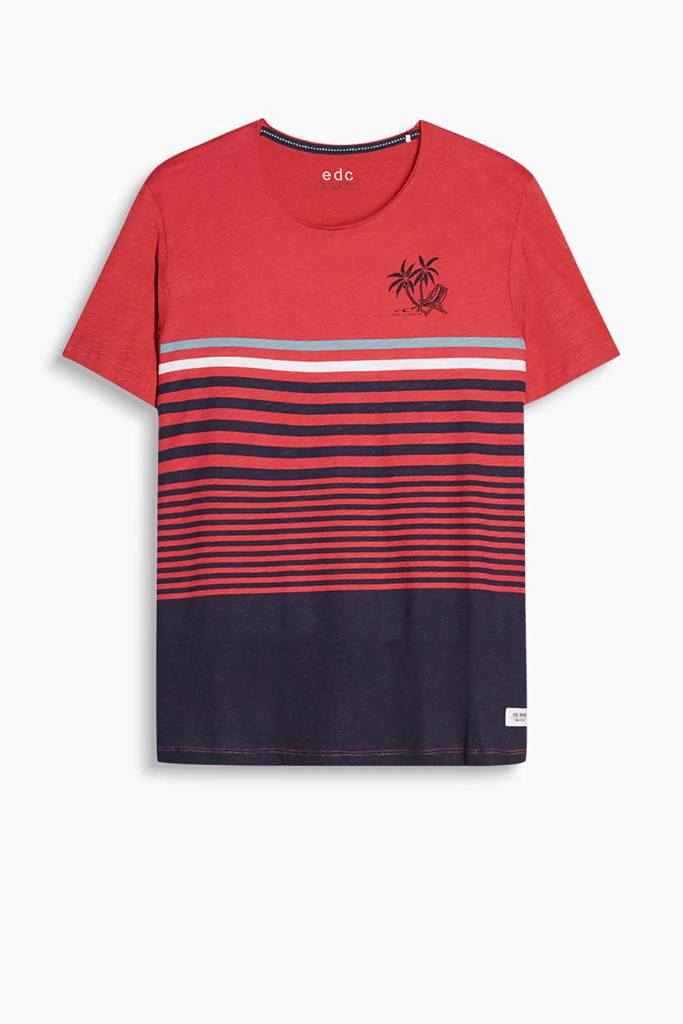 T-shirt made of 100% cotton with a multi-coloured stripe print