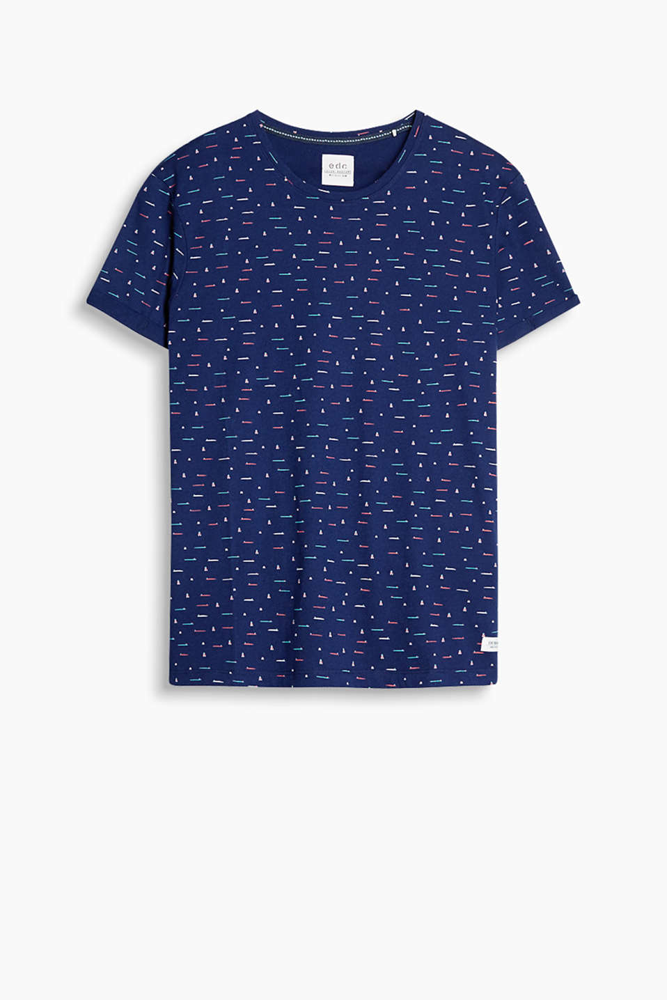 T-shirt with an all-over print and fixed, turn-up sleeve ends, made of 100% cotton
