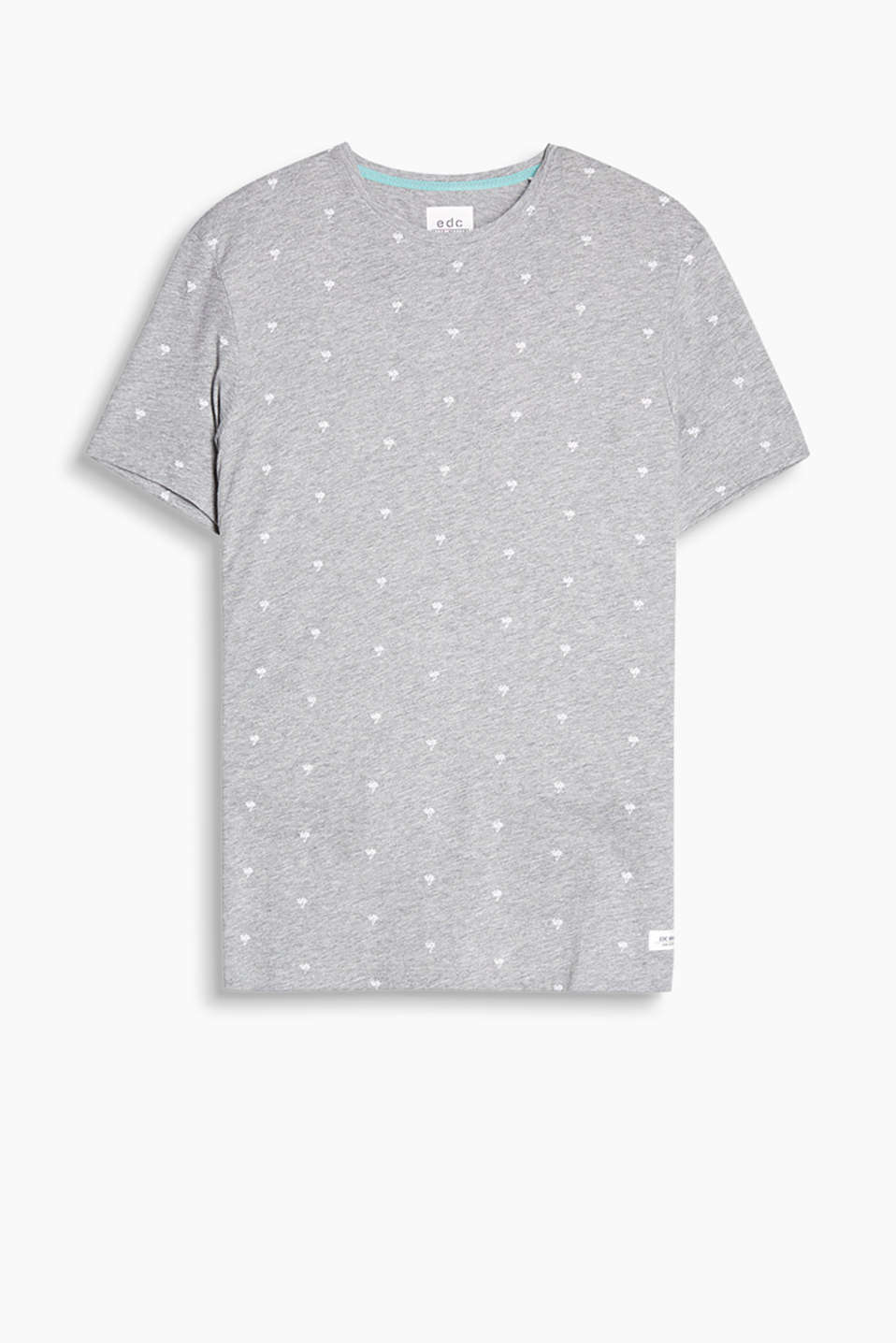 Round neck T-shirt with an all-over palm tree print