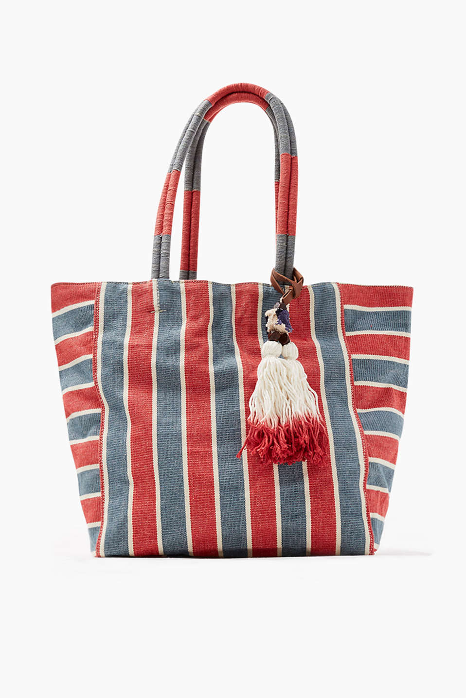 Shopper with fringed tassel made of 100% cotton