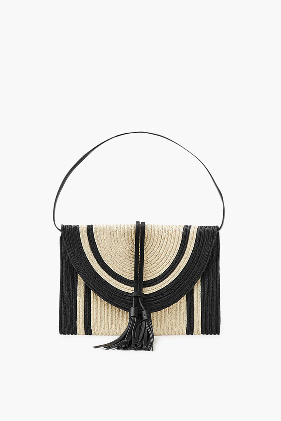 Clutch in a two-tone, summery look with tassels and a detachable shoulder strap