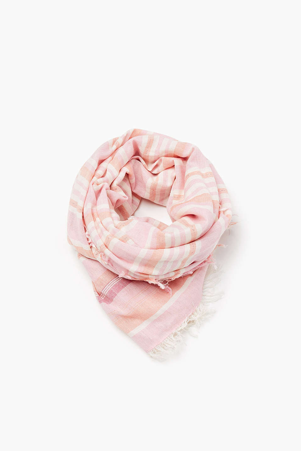 Scarf with a partially glittering stripe pattern, in comfortable blended cotton