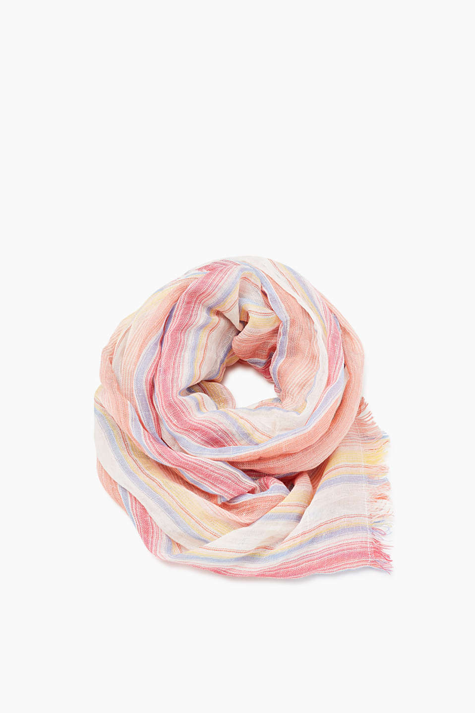 Large scarf in cool blended linen with a fine stripe pattern
