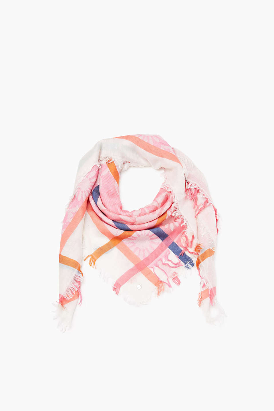 Flowing woven scarf with a floral jacquard pattern and fringing on the ends