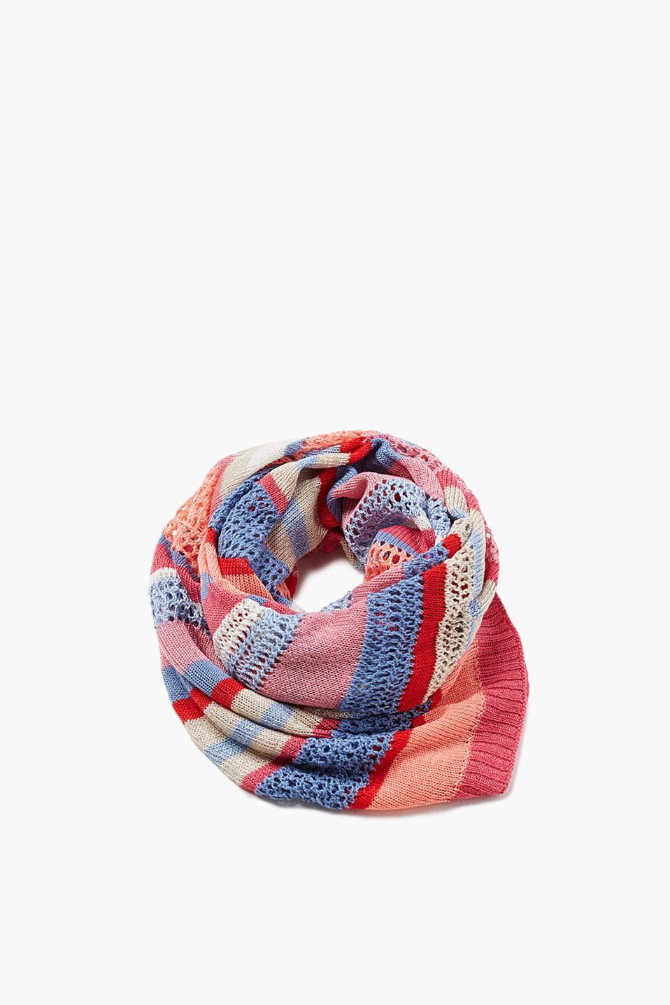 Colourful knit scarf with metallic effect made of soft blended fabric