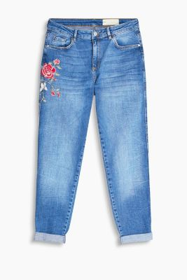 Stretch-Denim mit floraler Stickerei