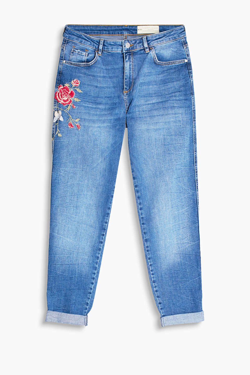 Casual stretchjeans med blomsterbroderi
