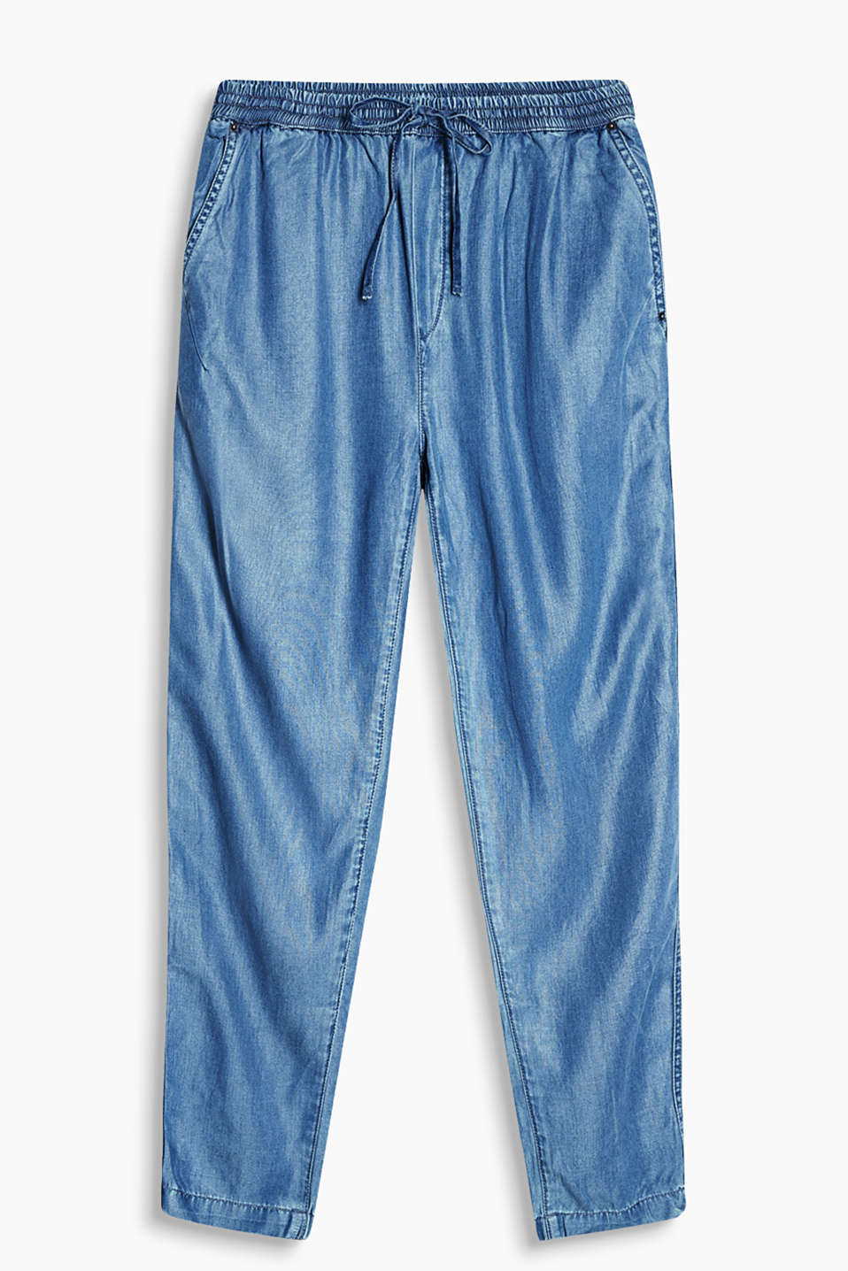 Sporty trousers in a summery denim style with comfortable elasticated cuffs