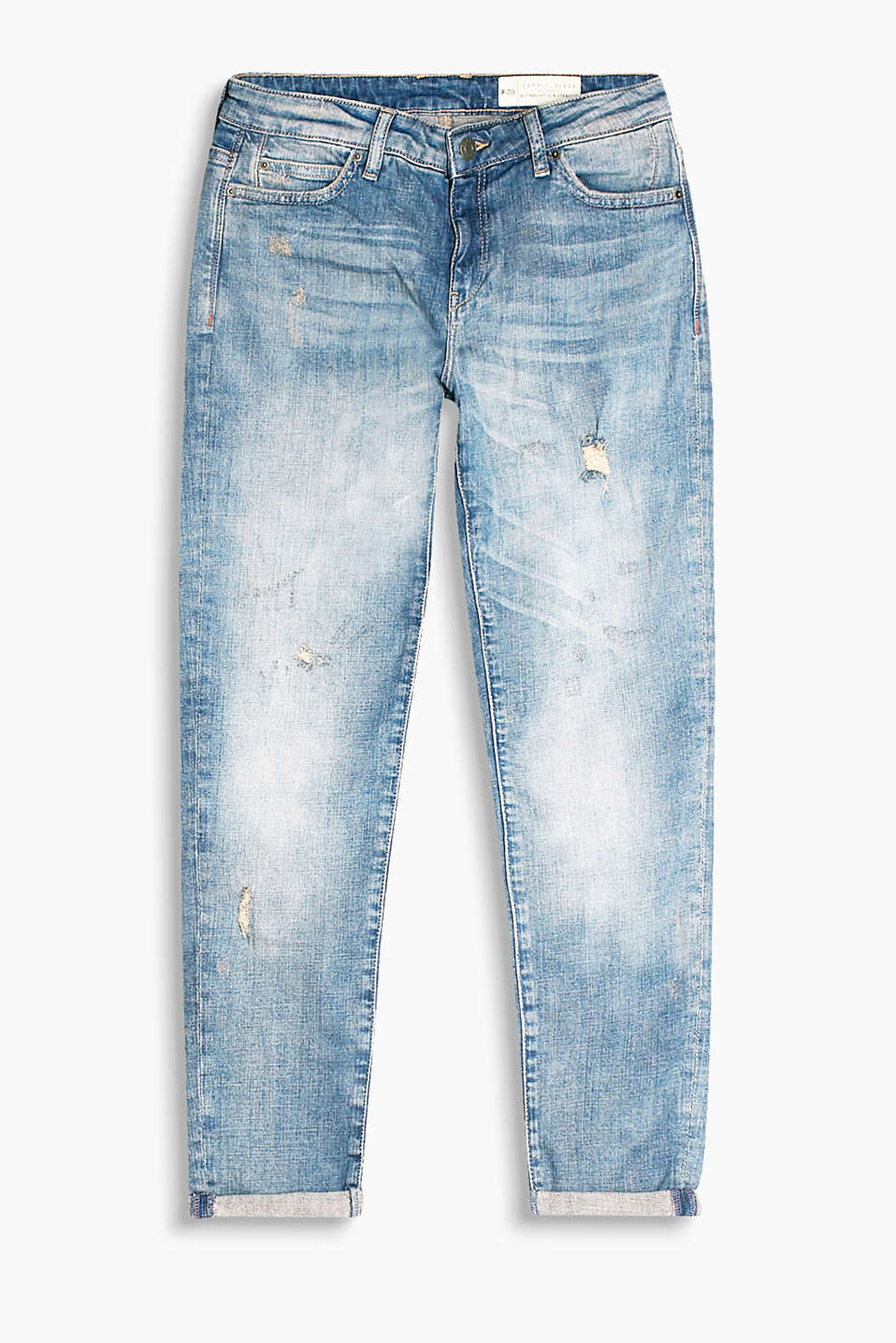Destroyed-Denim im Five-Pocket-Stil, Baumwolle/Stretch