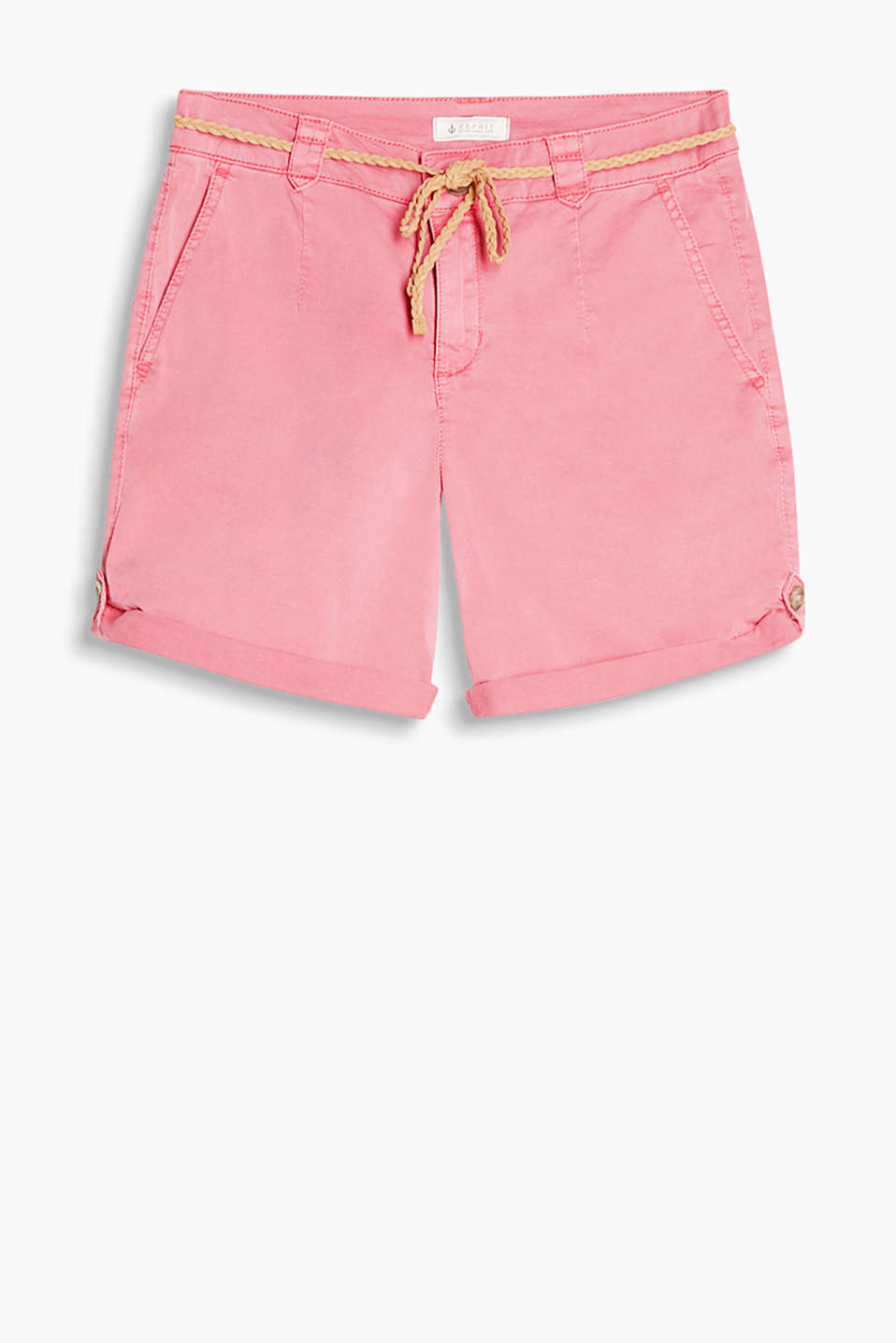 Shorts with an adjustable leg length and delicate braided belt, cotton/stretch