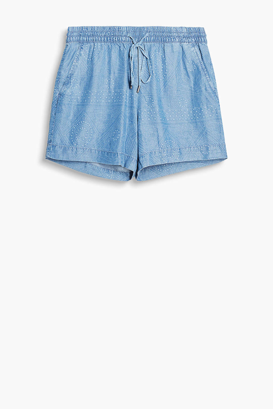 Weiche, fließende Sommer-Shorts in Denim-Optik mit Gummibund