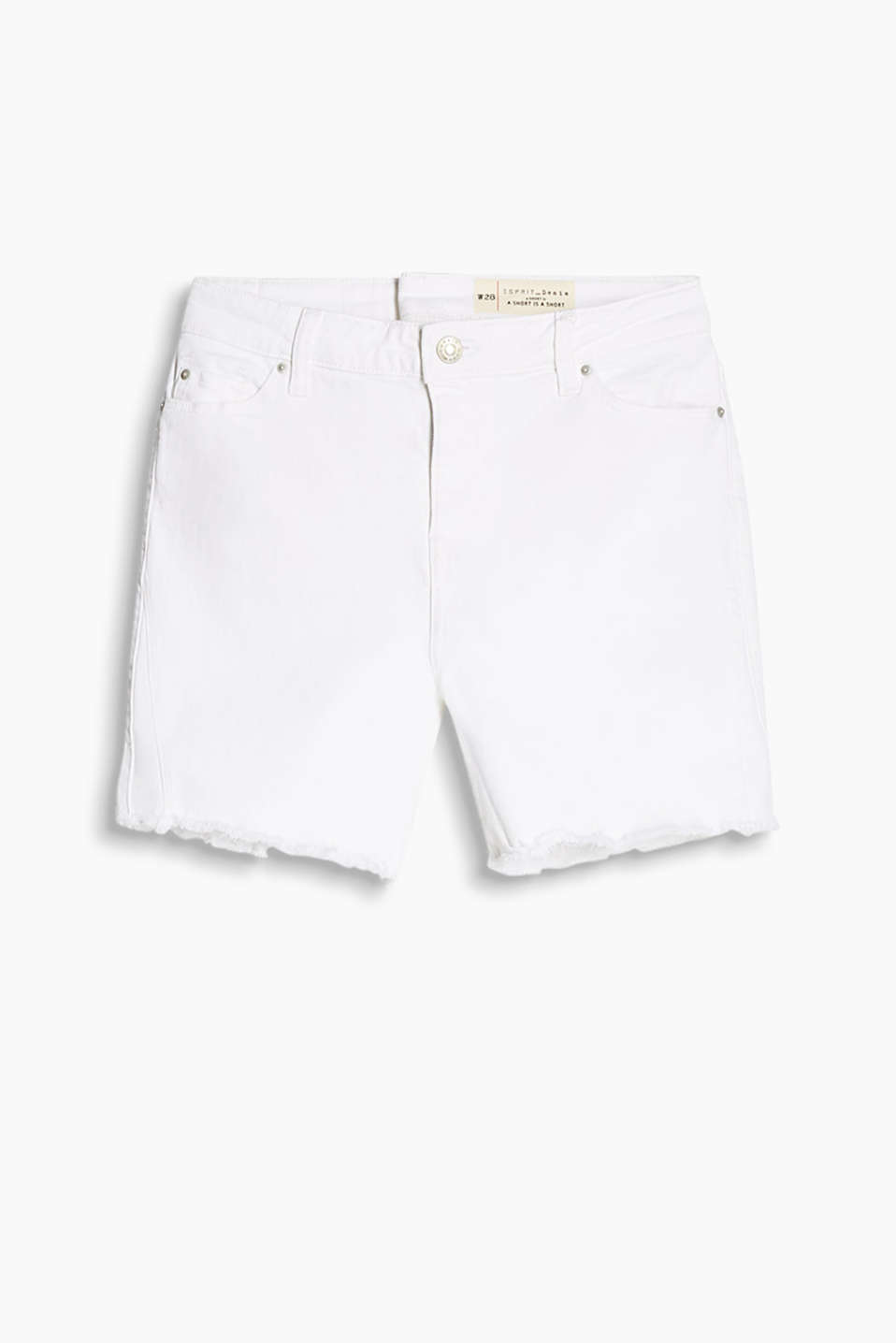 Witte short van stretchy denim in five-pocket-stijl