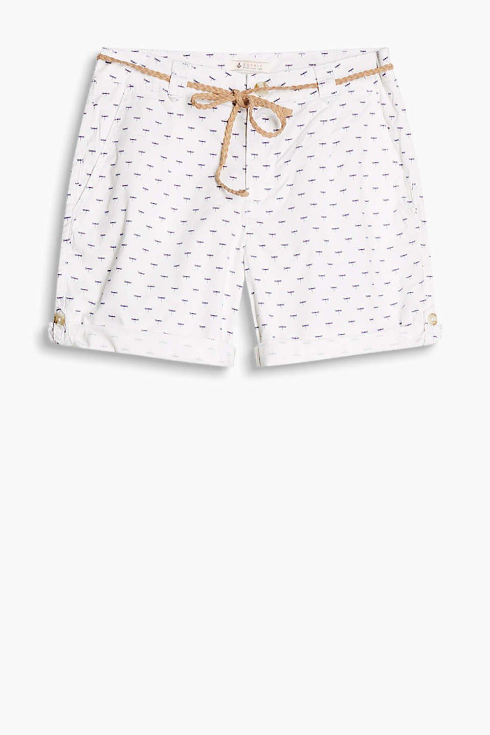 Lightweight cotton twill shorts with a dragonfly print, narrow braided belt and turn-up hems
