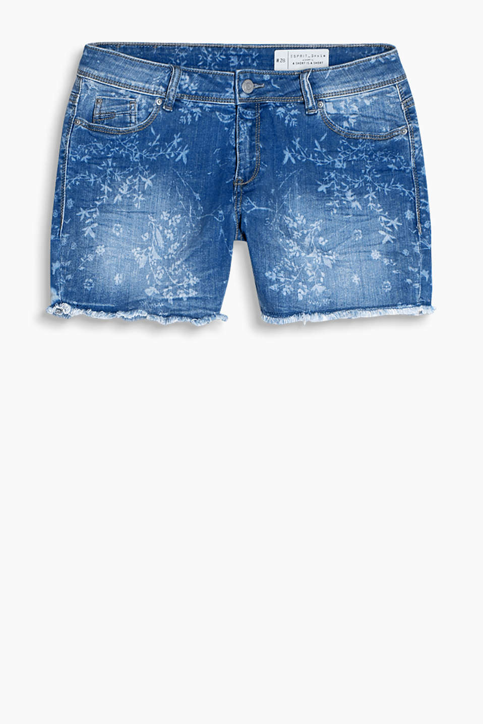 Stretch denim shorts with a blossoming floral print and frayed hems