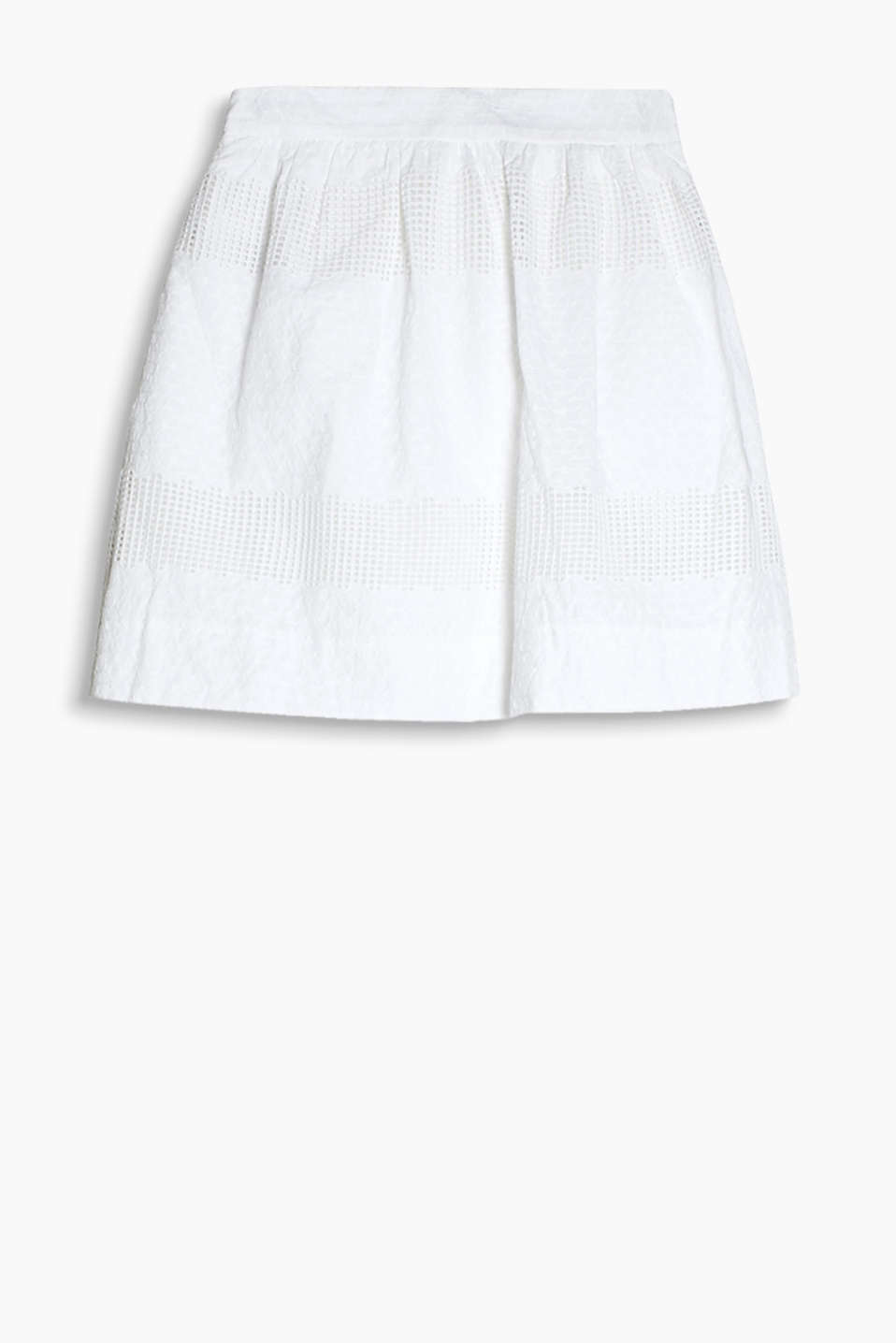 Summery cotton skirt with airy mesh lace and floral embroidery