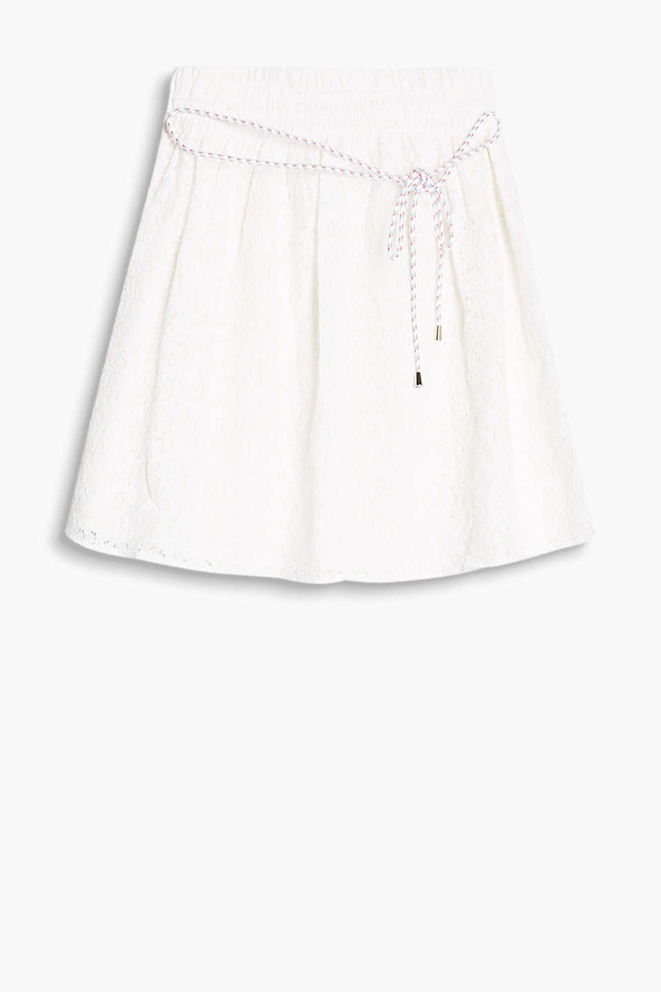Flared, delicate lace skirt with an elasticated waistband and dainty cord belt