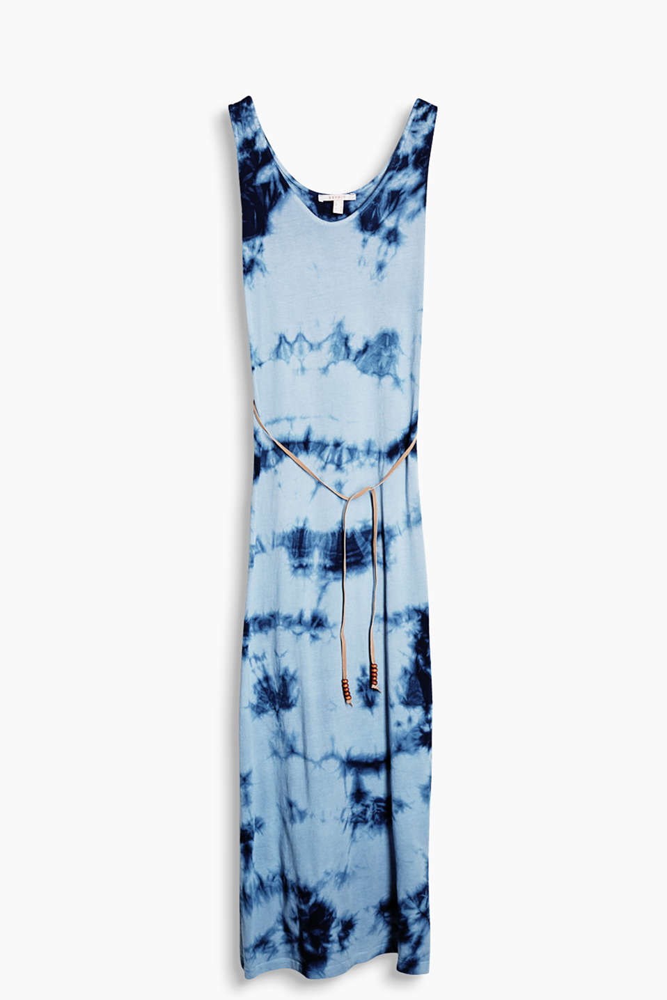 Maxi dress in soft jersey with a trendy batik look and a tie-around belt, 100% cotton