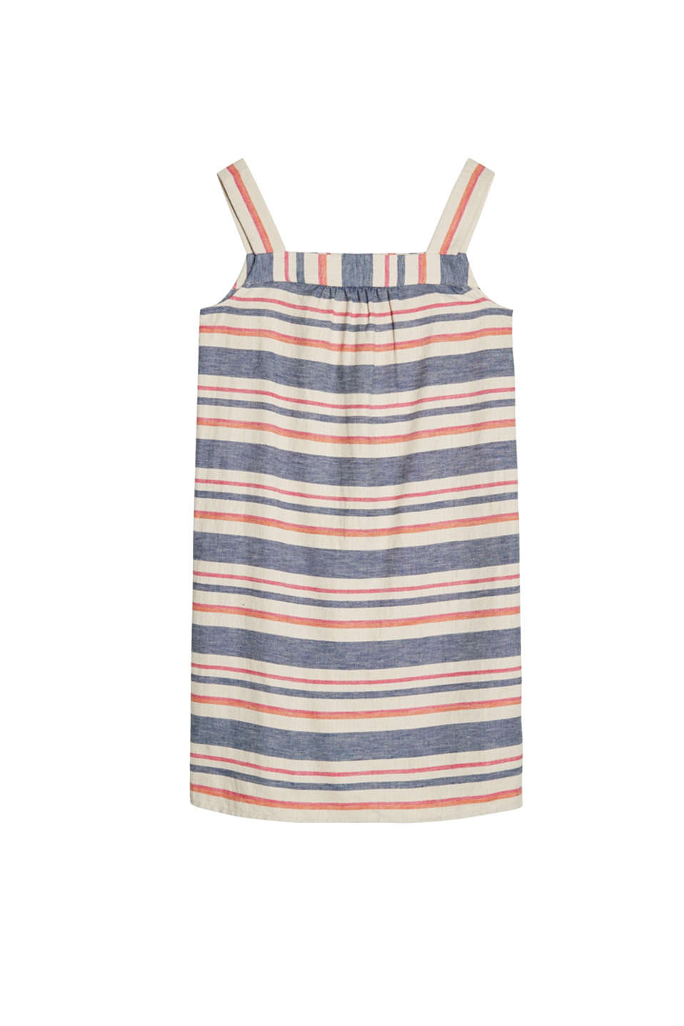 Straight cut strap dress with block stripes in airy blended linen