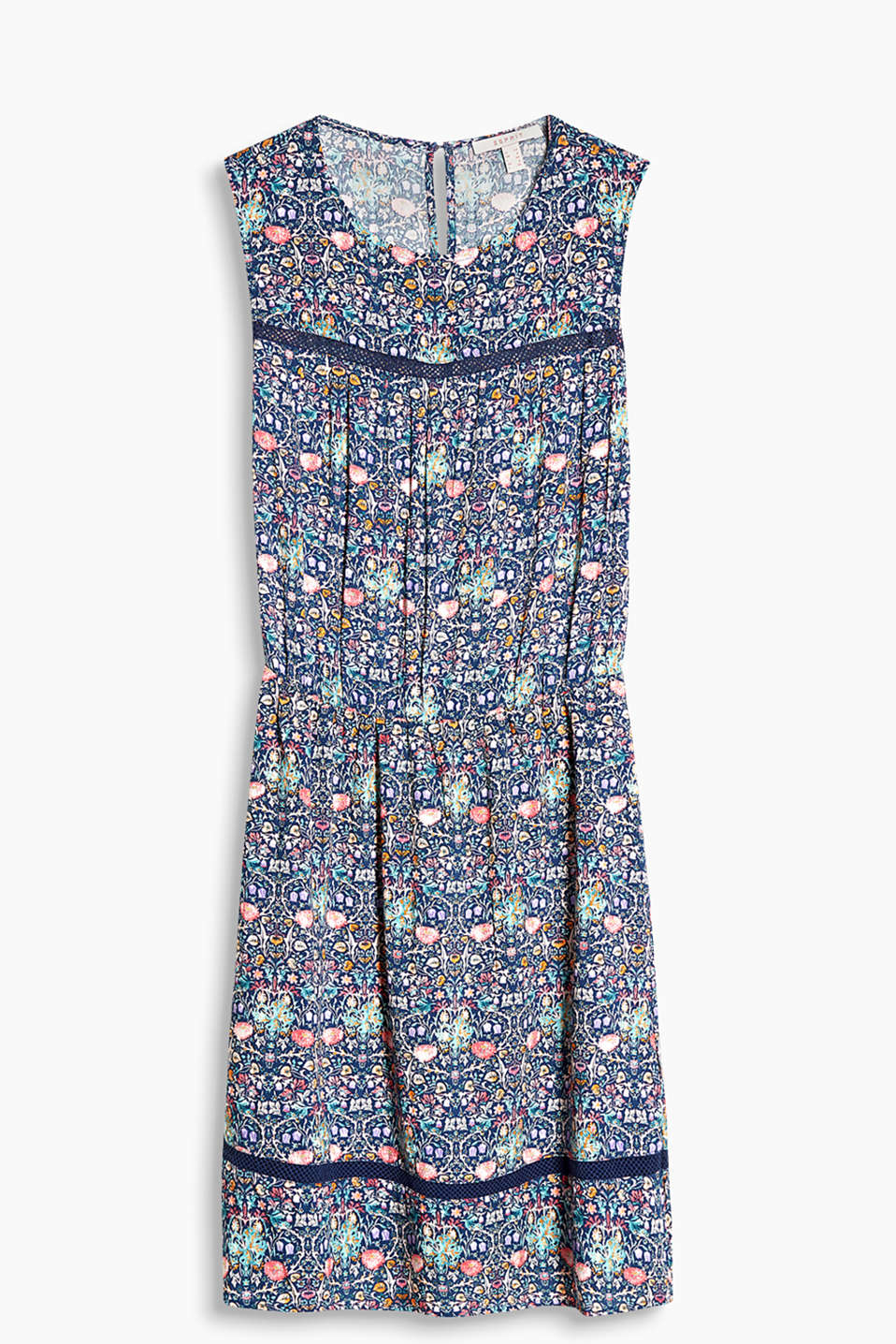 Floaty woven dress with a mille-fleurs print and airy net trims
