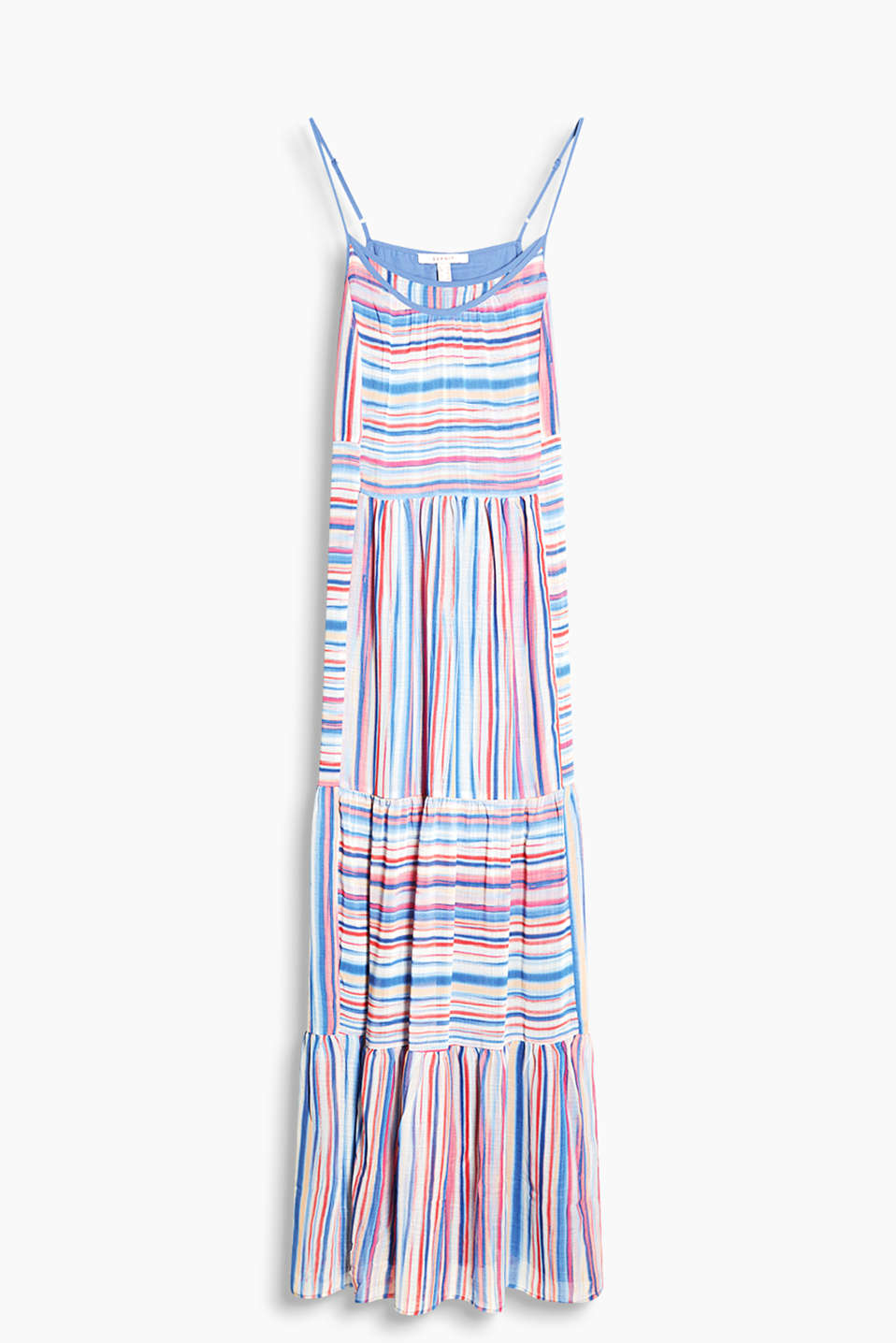 Maxi dress with multi-coloured stripes and a wide tiered skirt made of delicate chiffon