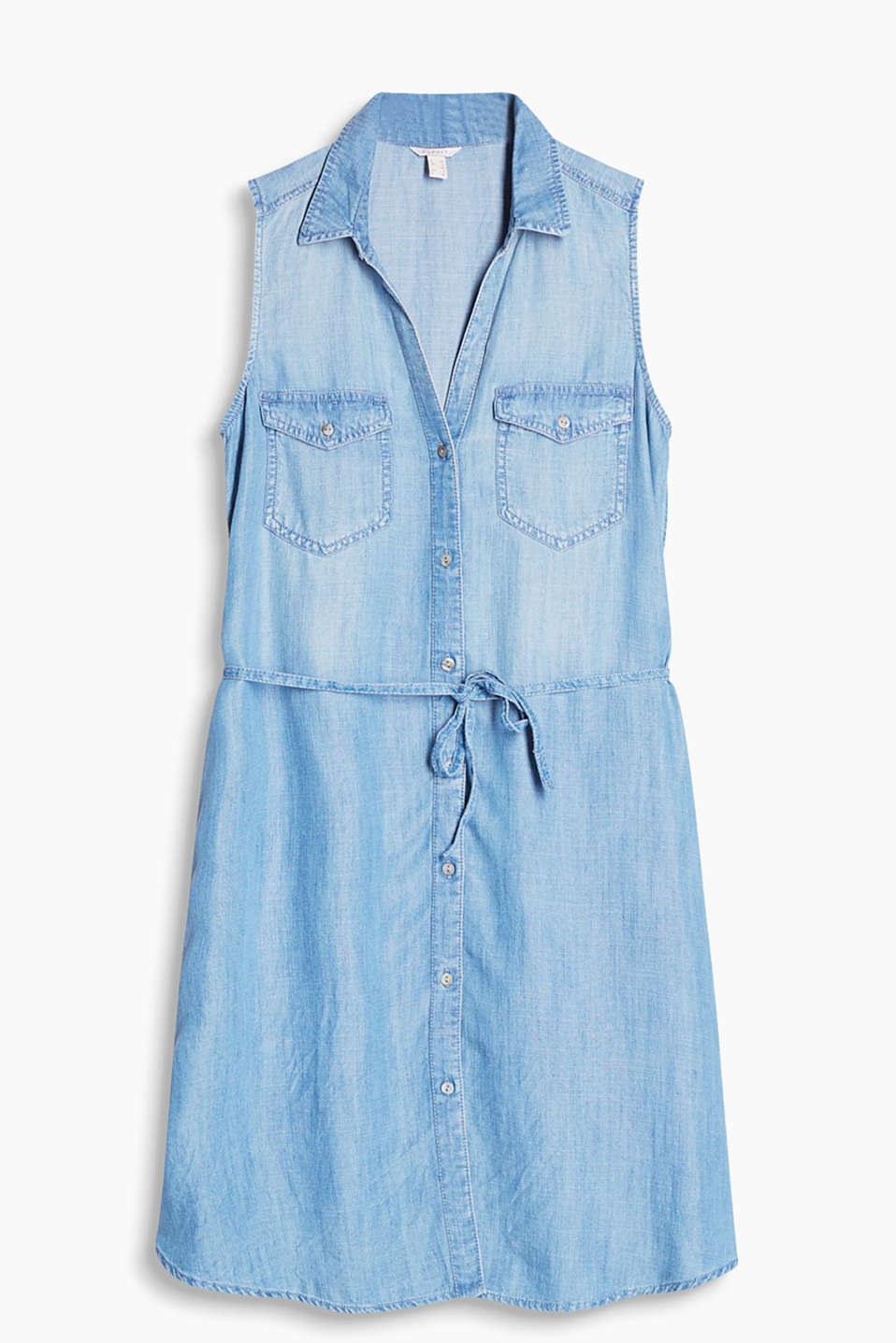 Simple dress in flowing denim with a breast pocket and tie-around belt