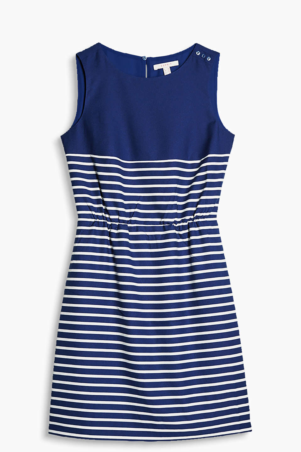 Nautical woven dress in a retro style with stripes, an elasticated dividing seam and shoulder buttons