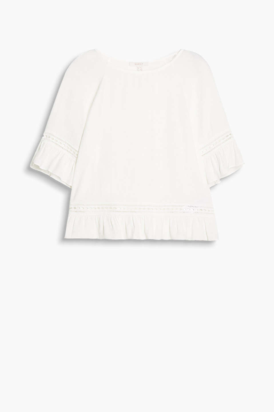 Flowing, finely textured blouse in a tunic style with crocheted details and frills