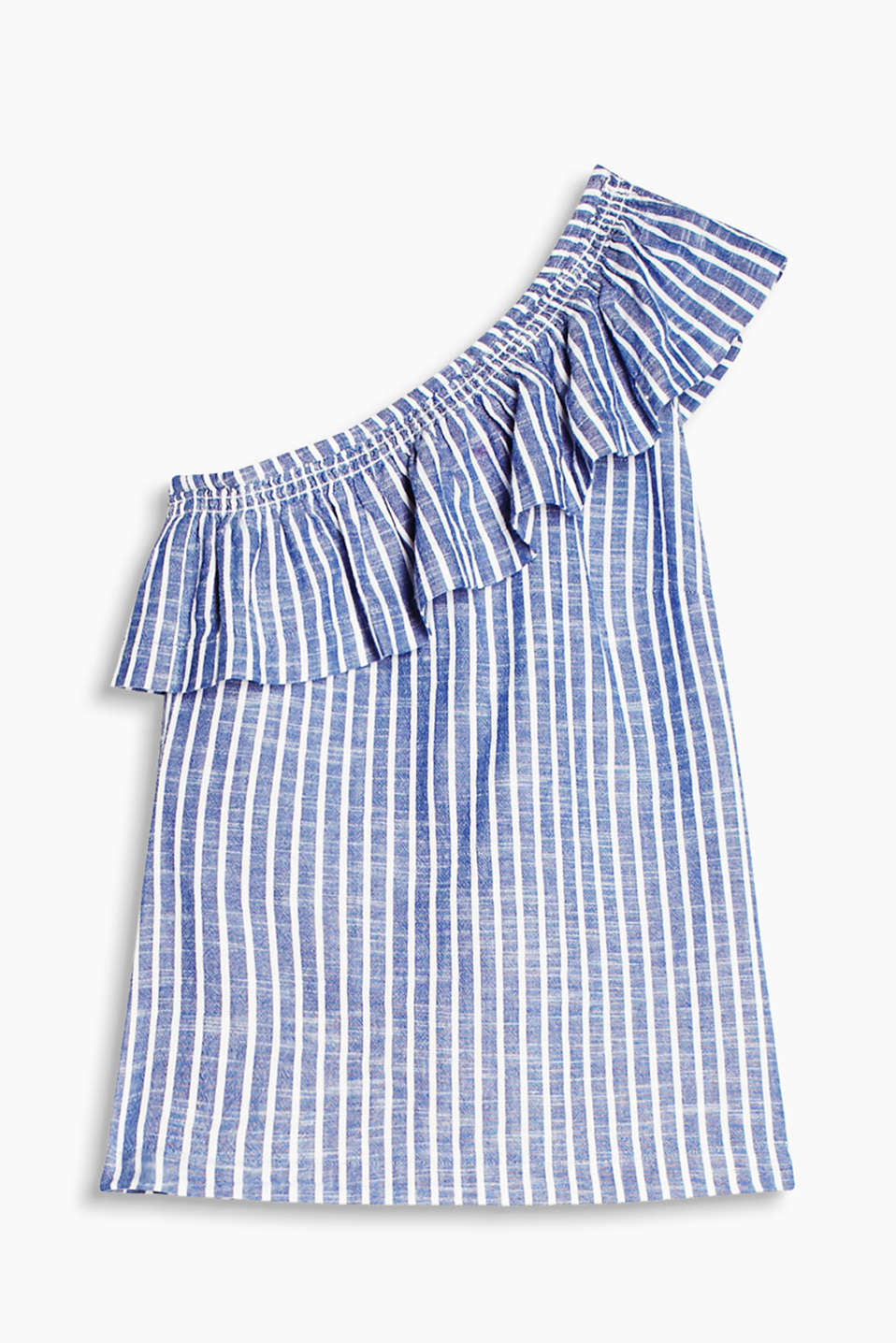 Striped one-shoulder blouse with a wide flounce, 100% cotton