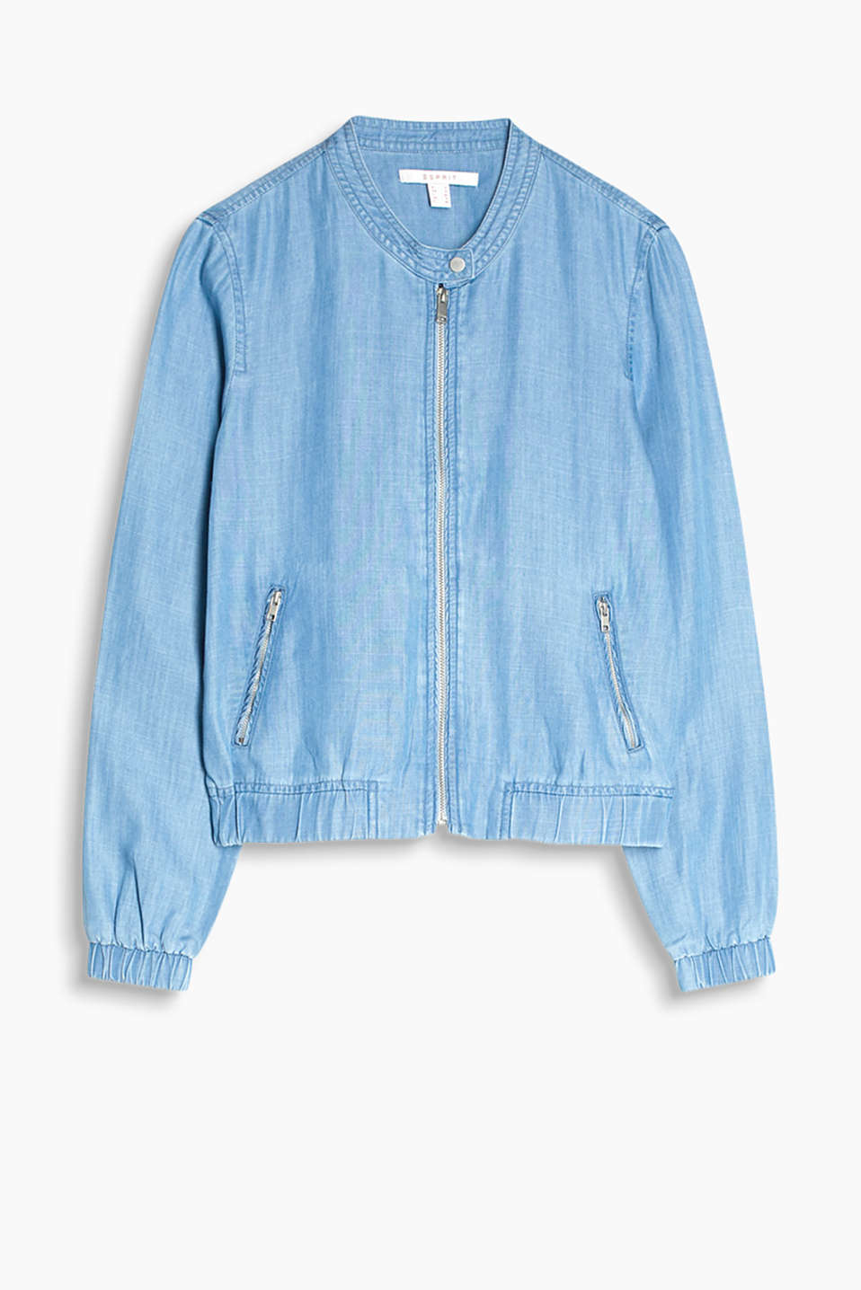 Loose, denim-effect bomber jacket with a fastenable stand-up collar