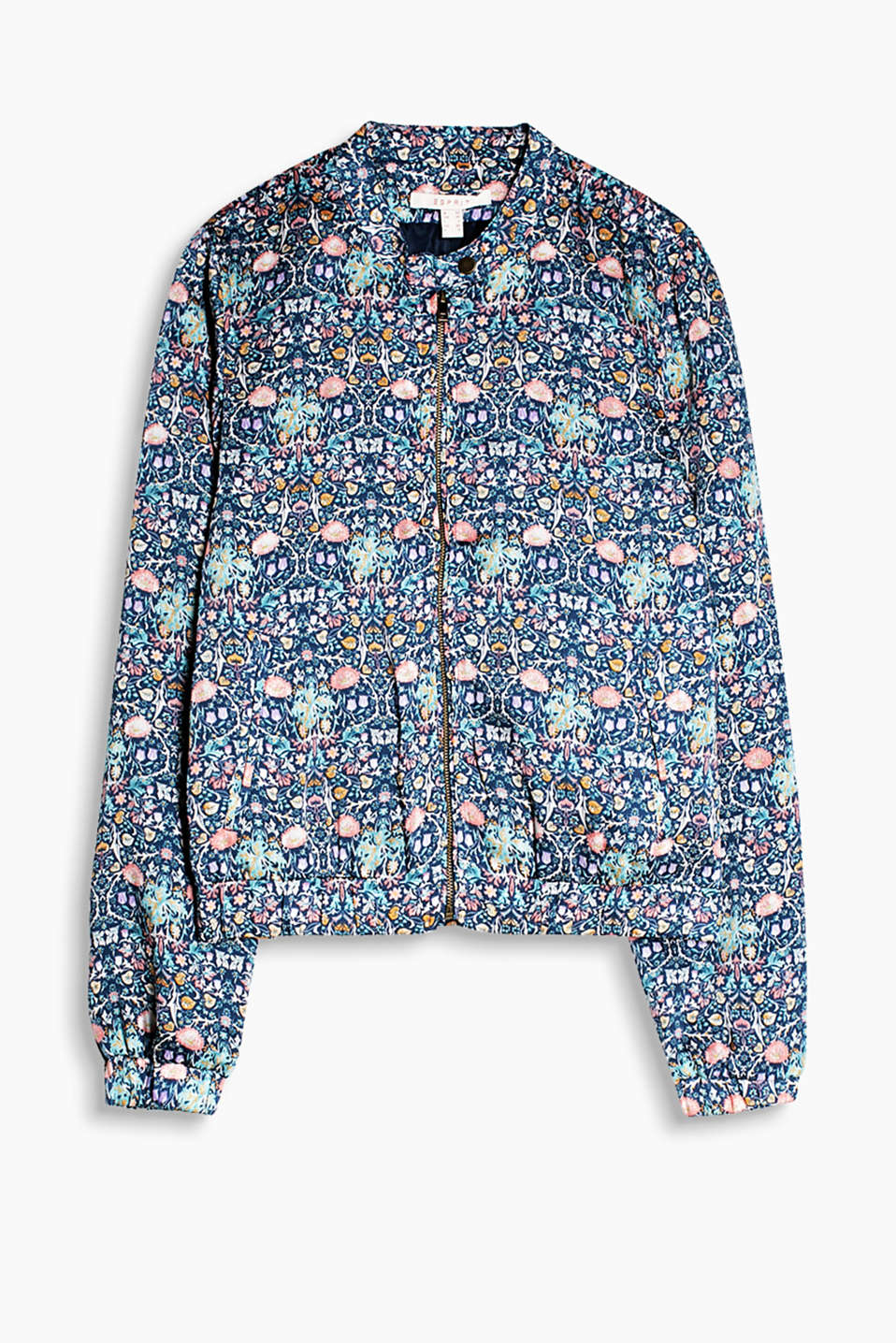 Summery, lightweight bomber jacket with a floral print, a characteristic zip and ribbed cuffs
