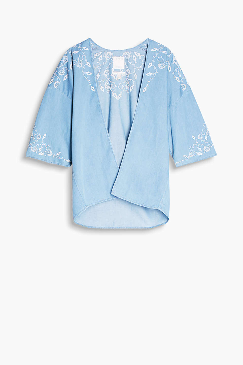Open denim jacket in a kimono style with floral embroidery