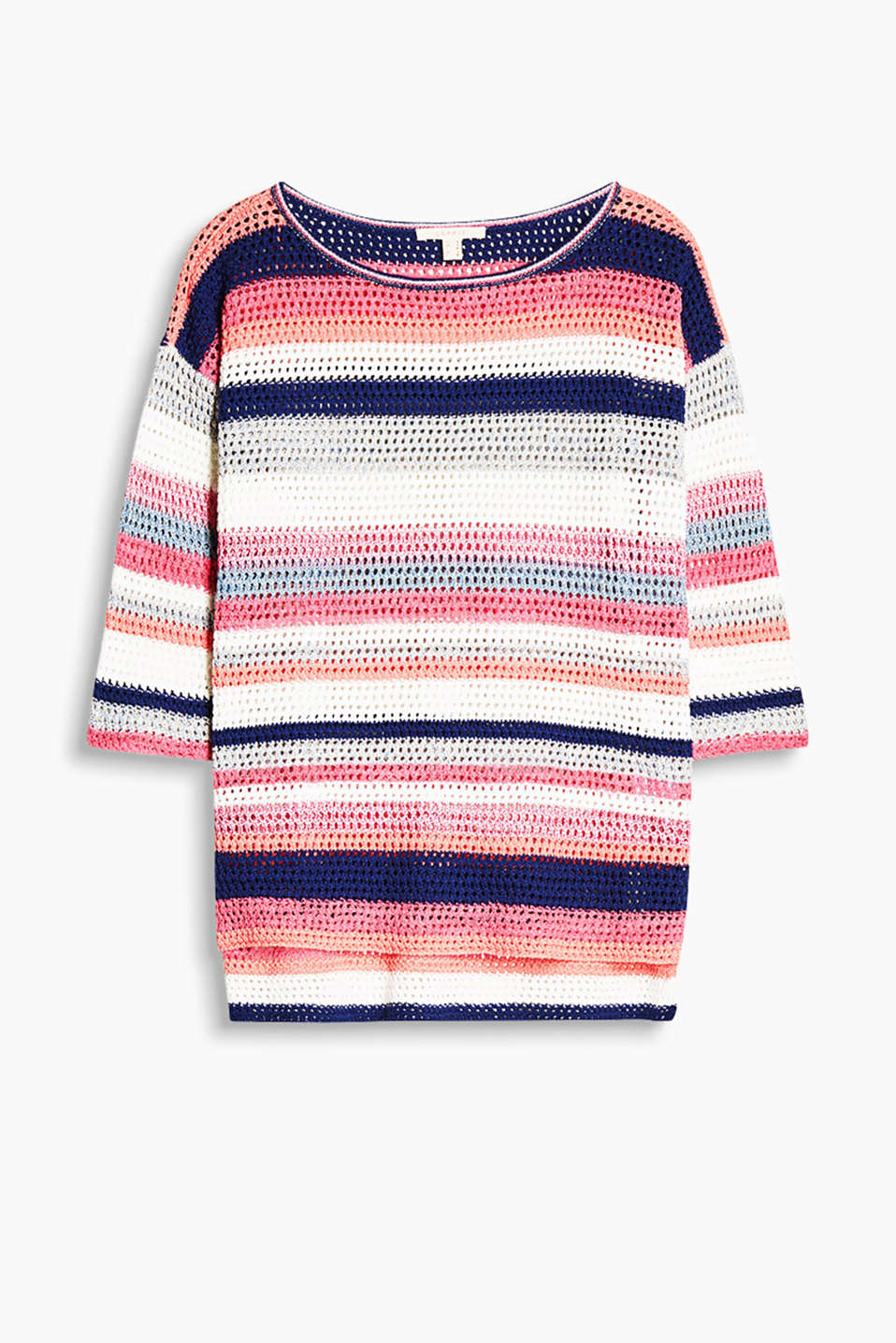 Airy crocheted jumper with block stripes and glittering lurex effects