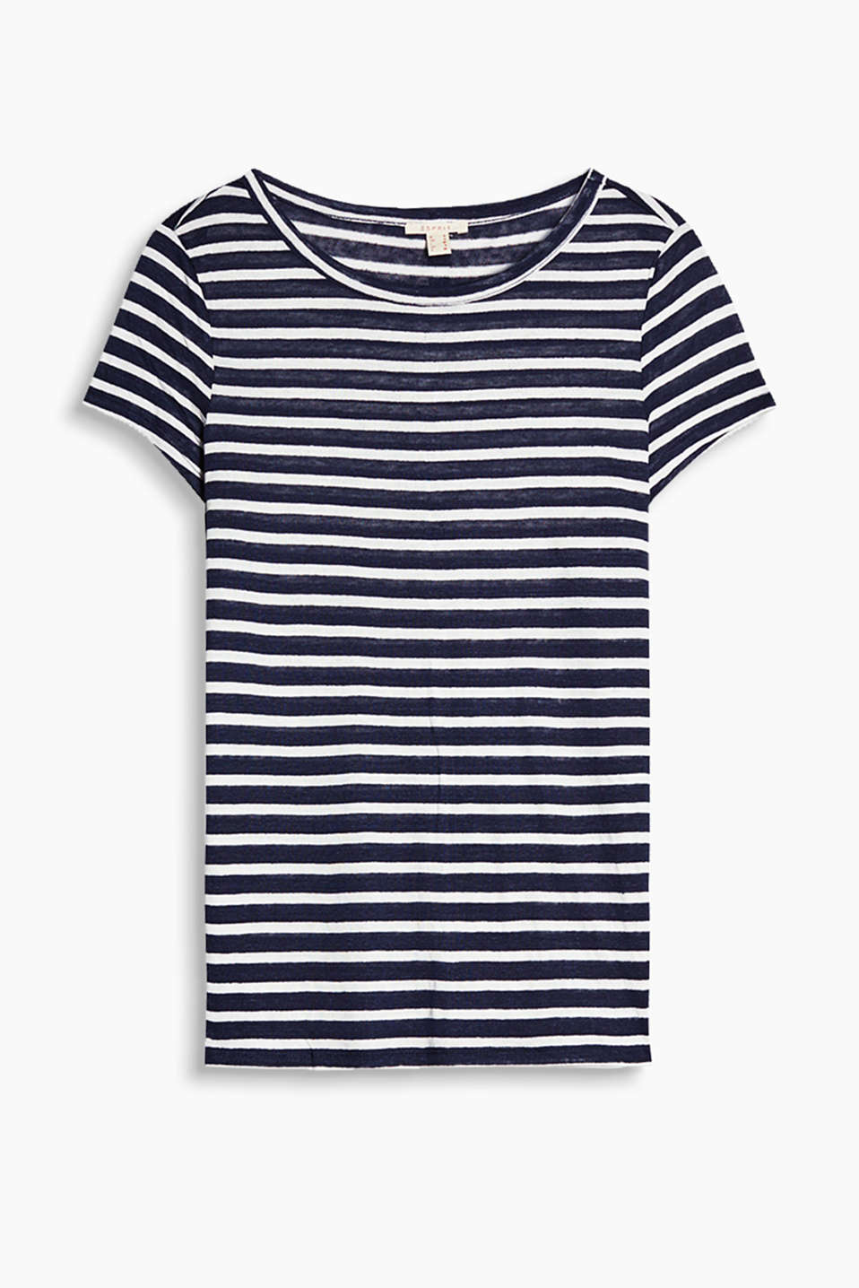 Loose striped T-shirt in a cool linen blend with a decorative button placket on the back