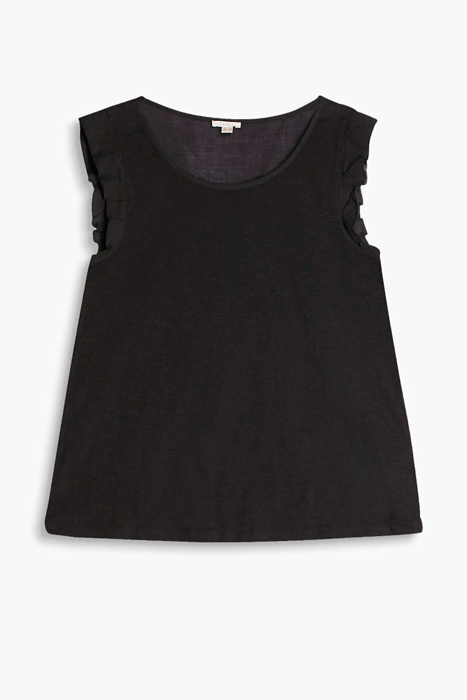 Slub tank top in 100% cotton with beautifully shaped cap sleeves in a figure-flattering A-line design