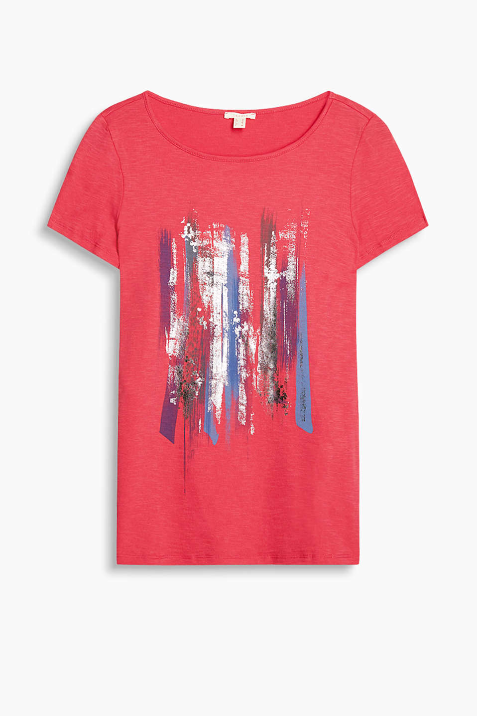 Slub jersey T-shirt with an abstract front print featuring sequins, 100% cotton