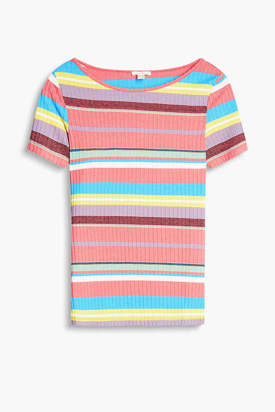 Close-fitting ribbed top with uneven, multi-coloured stripes and a wide neckline