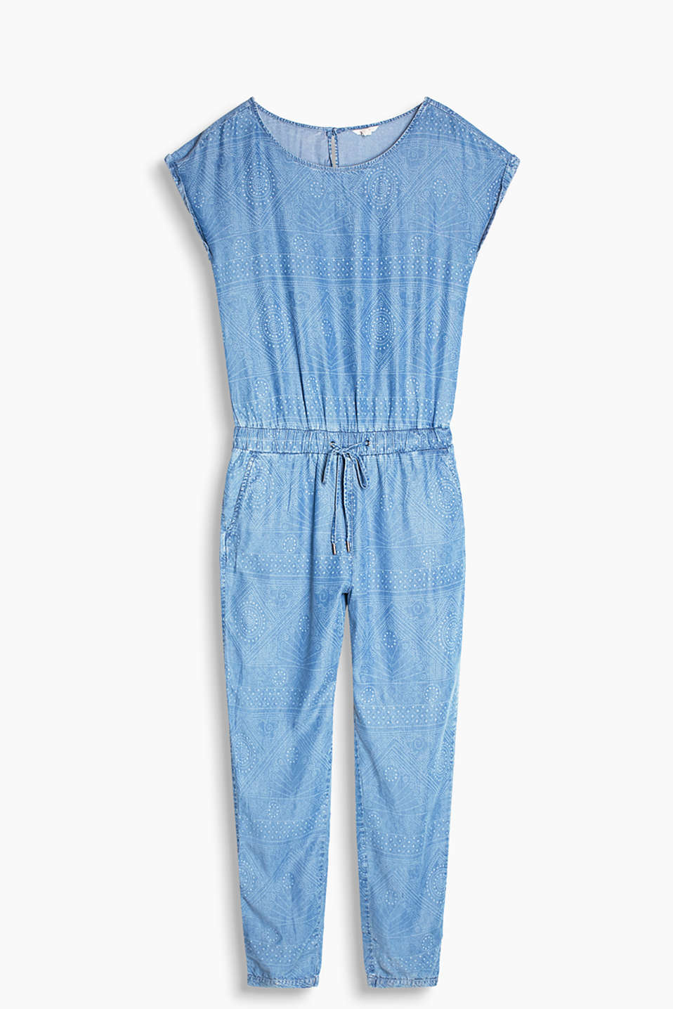 Floaty, denim-effect jumpsuit with a decorative ornament print