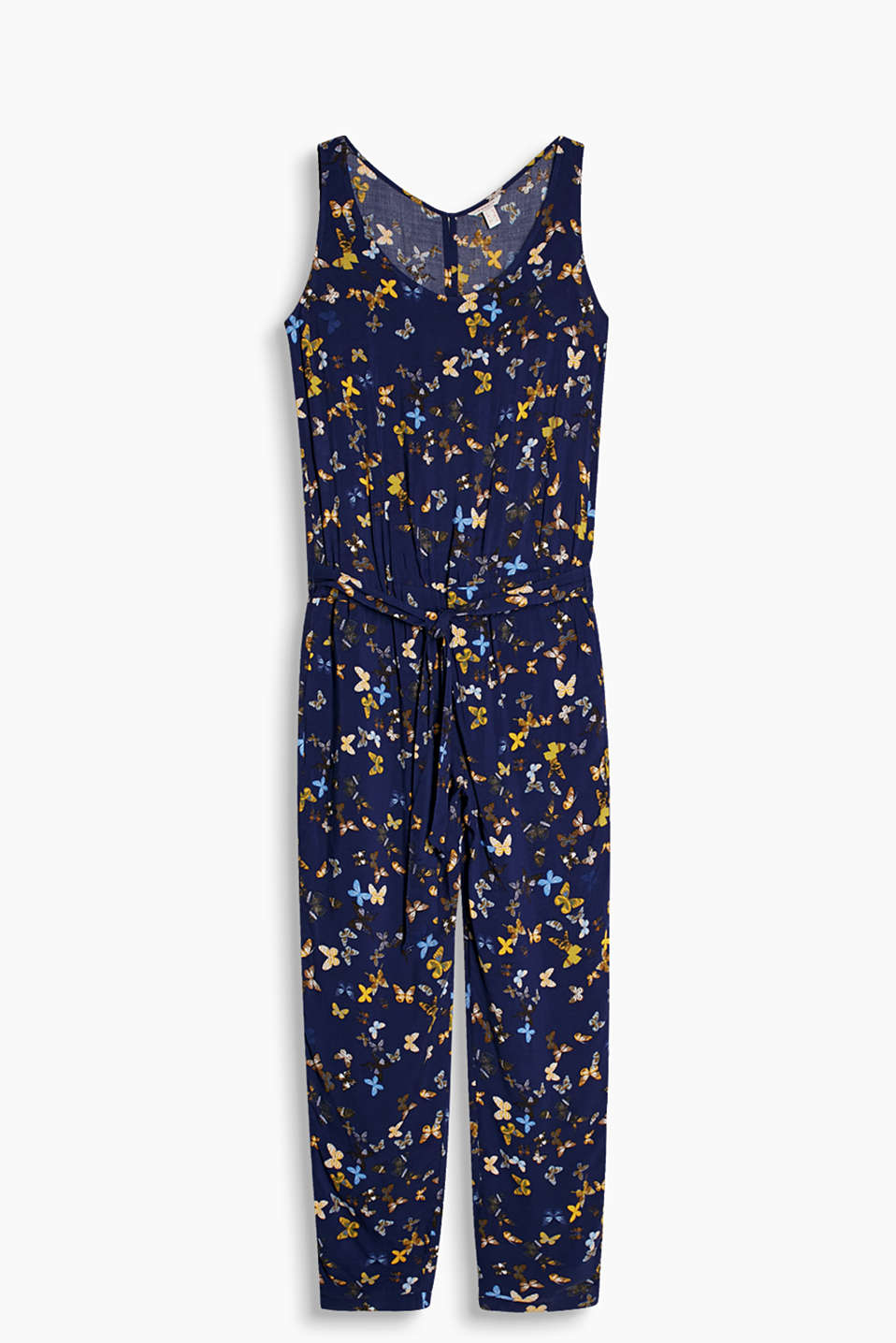 Flowing jumpsuit with butterfly print and a tie-around belt