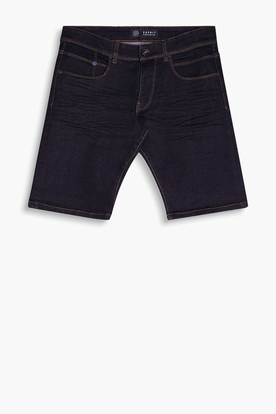 Five-pocket denim shorts in blended cotton with contrasting stitching