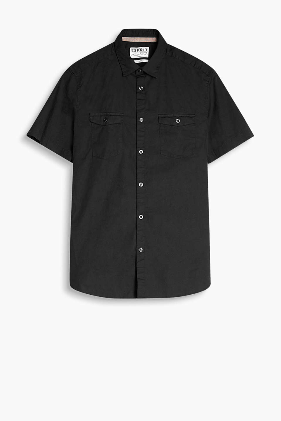 Shirt with breast pockets and short sleeves made of smooth cotton fabric with a high percentage of stretch