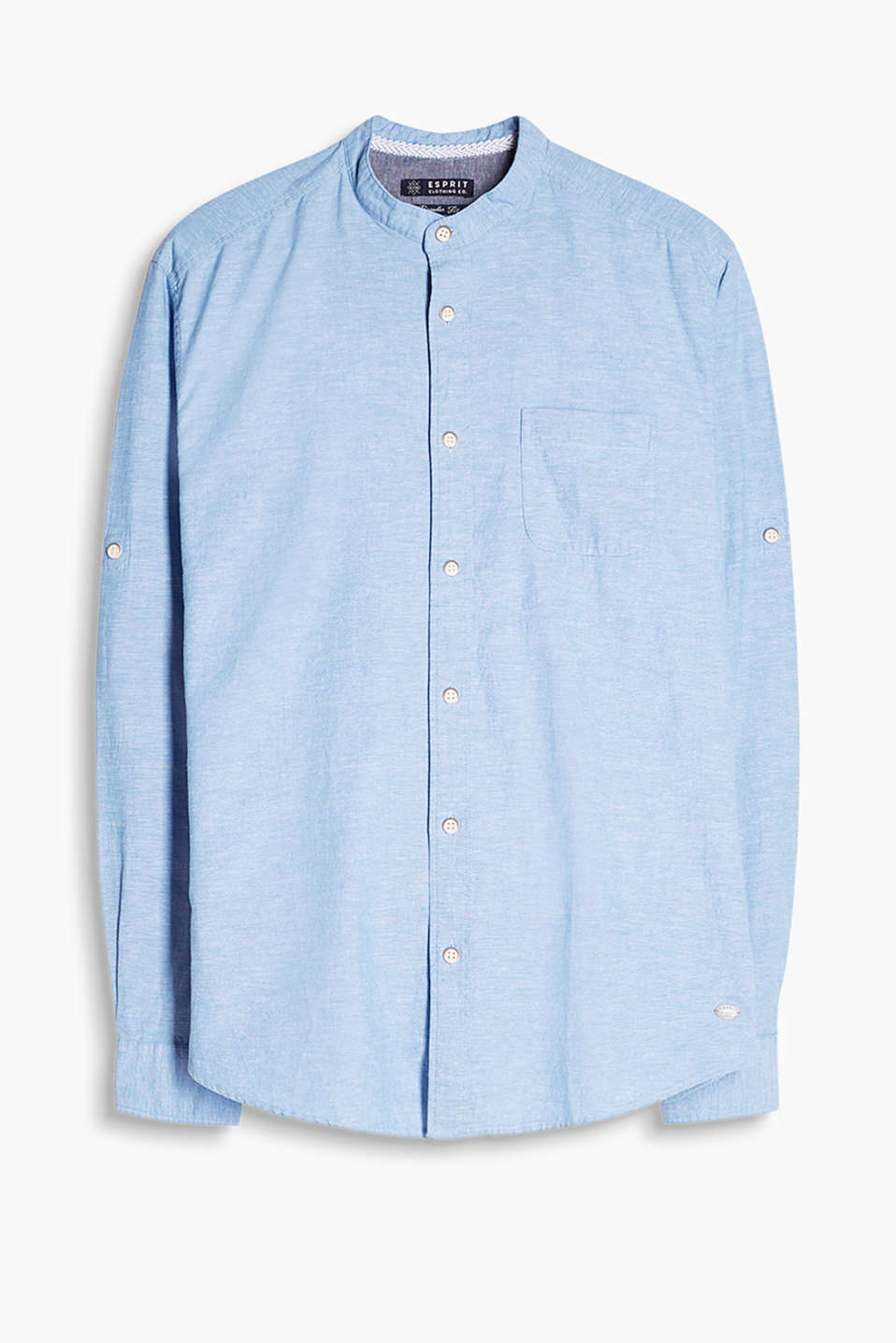 Shirt in a soft cotton/linen blend with a stand-up collar, breast pocket and turn-up sleeves