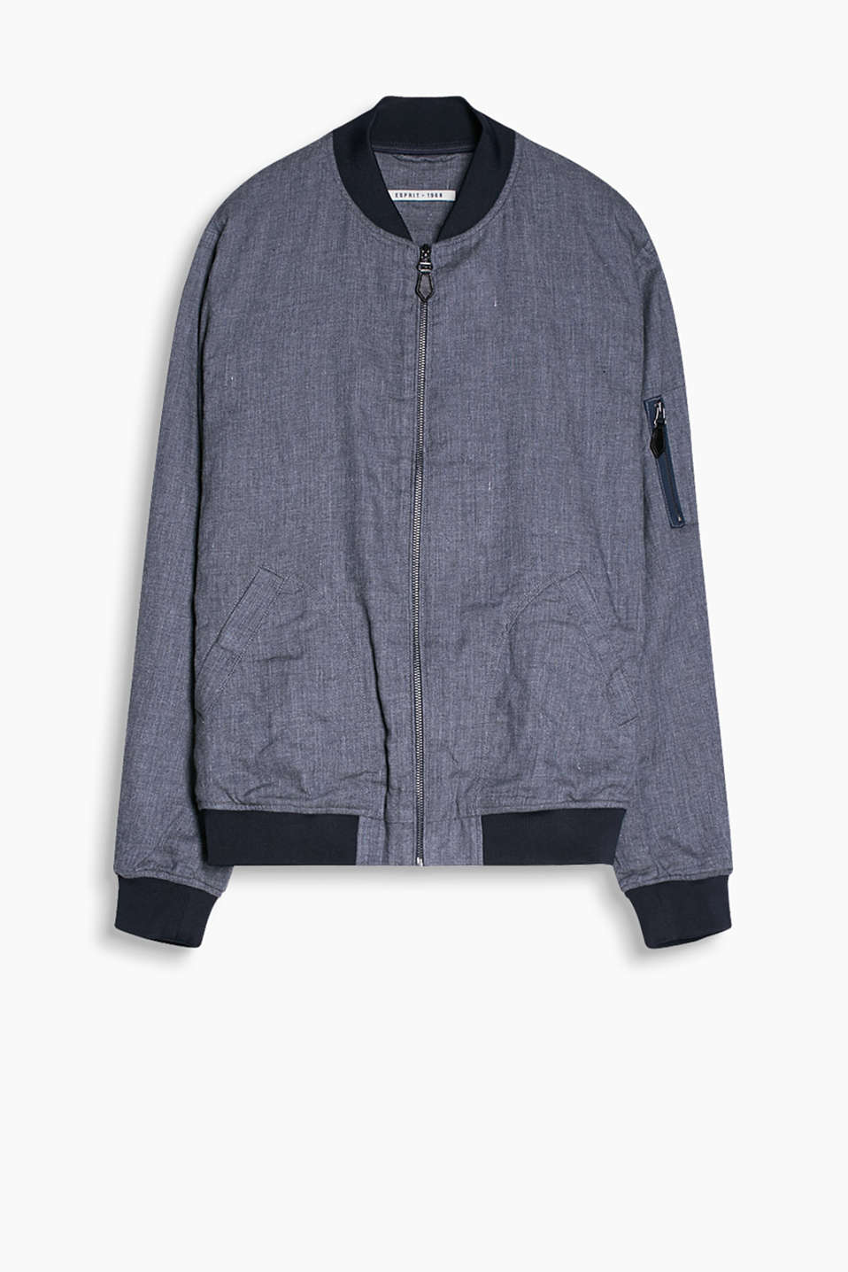 Bomber jacket with stretchy, ribbed trims on the collar, lower edge and sleeve ends, made of blended cotton and linen
