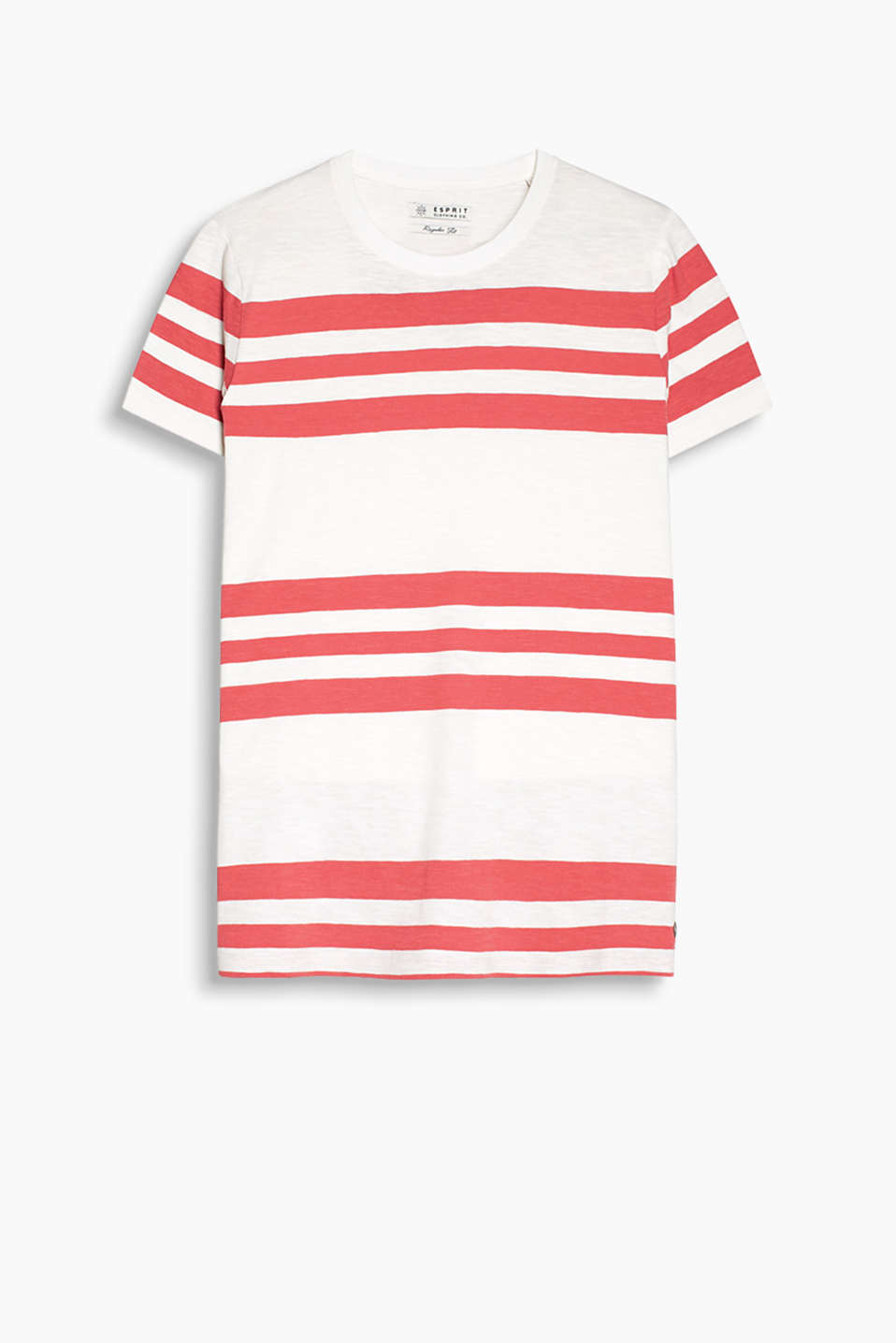 T-shirt with coloured stripes, made of dense slub jersey