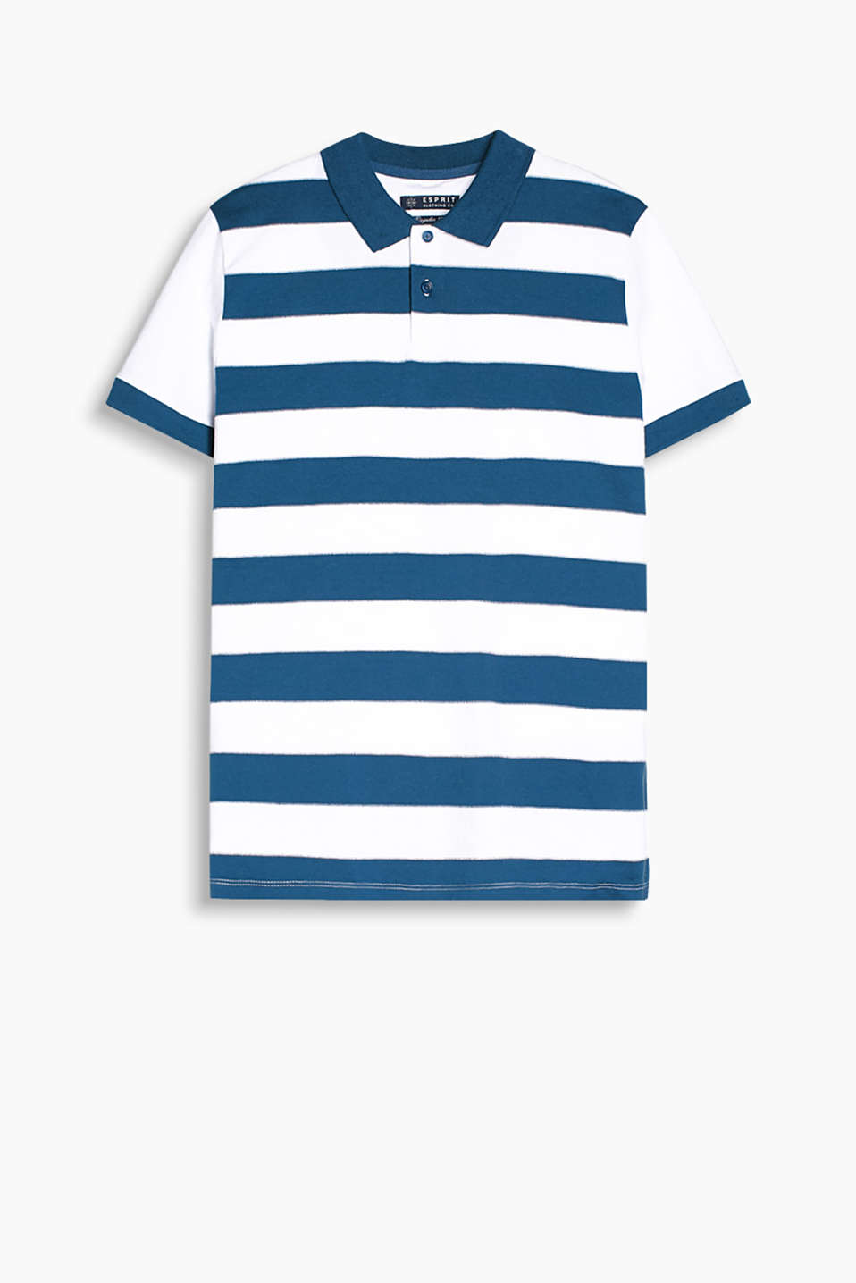 Polo shirt with decorative stitching and a nautical, striped pattern