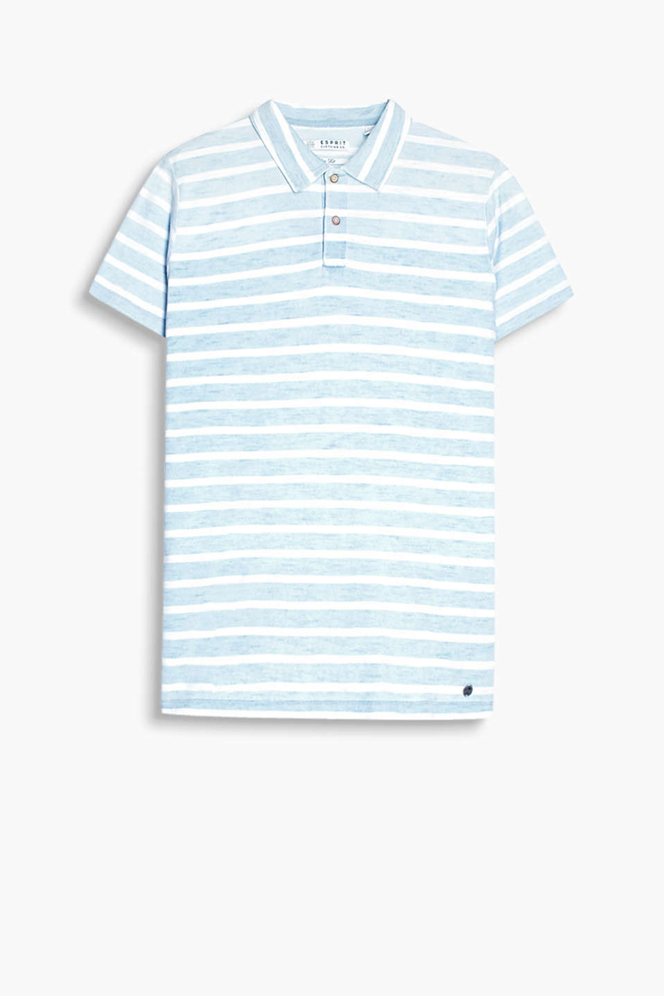 With a nautical striped pattern: polo shirt in a fine knit look